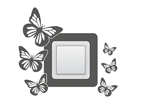 Wandtattoo Lichtschalter Steckdosentattoo Schmetterlinge Nr 2 Wandschalter Stromschalter Farbe Grün, Größe 18x16 cm | Einer