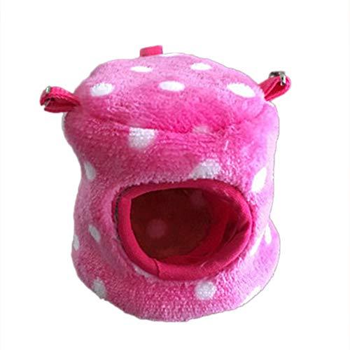 FEIDAjdzf Cama para Mascotas para Dormir, hámster de Mascota, caseta de Ardilla, Cama pequeña, cálida de Terciopelo de Invierno con Lunares y Nido de algodón