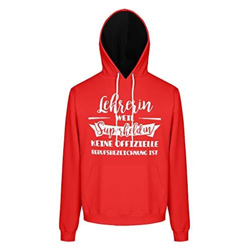 RNGIAN Herren Oversized Sweatshirts Hoodies Lehrerin Weil Superheldin Keine offizielle Berufsbezeichnung ist Fit Sweat Hoodie Für Frauen White l