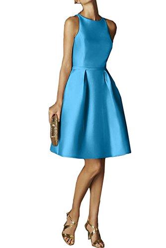 Sunvary Damen Rund Satin Neu Cocktailkleider Ballgown Kurz Abschlussballkleid Blau