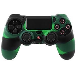Camouflage Silikon Gummi Kasten Haut Hüllen Abdeckungs Schutz für PS4 Controller (Gruen+Schwarz)