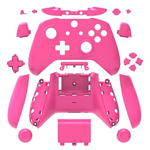 WPS Matt Gehäuse Gehäuse Gehäuse Full Shell Set Blenden + ABXY Tasten + RB LB Bumper + Right/Left Schienen für Xbox One S Slim (3,5mm Kopfhörerbuchse) Controller rosa Rose