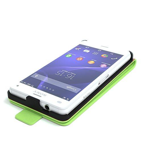 Sony Xperia Z1 Compact Hülle - EAZY CASE Premium Flip Case Handyhülle - Schutzhülle aus Leder in Schwarz Grün (Flip)