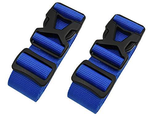 riemot Koffergurt Kofferband Gepäckgurt Kreuz Koffer Gurte Riemen Verstellbar & rutschfest 2 Stück Blau