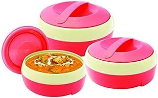 Princeware Solar Plastic Casserole Set, 3-Pieces, Pink