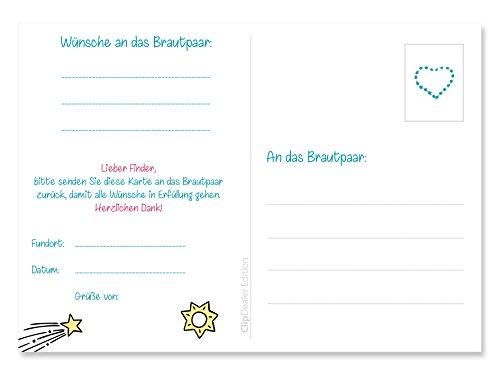50 Ballonflugkarten für die Hochzeit, extra leichte Ballonkarten, Ballon-weitflugkarten, wetterfest, bereits gelocht, Postkarten Hochzeit - 2