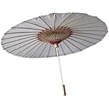8m chino sombrilla de bambú estilo japonés Stick paraguas (color blanco)