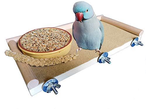 Piattaforma per uccelli Accessorio gabbia per posacenere di lunghezza 33 cm per posatoio! Perimetro di legno con tassello di faggio! Per cockatiels, pappagalli, pappagallini! Regalo eccellente!