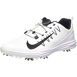 Nike Lunar Command 2 Boa, Zapatos de Golf para Hombre, Blanco Black-White 100, 45.5 EU