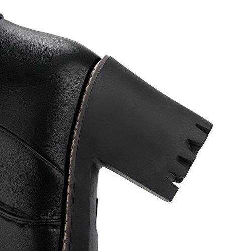 VogueZone009 Femme à Talon Haut Couleur Unie Rond Zip Bottes avec Métal Noir