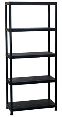 TOOMAX 180 x 80 x 40cm Universal Shelving 84-5 Maxi Shelf Unit with 5 Shelves - Black - low-cost UK light store.