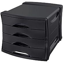Esselte Group Europost Vivida - Cajonera para documentos (4 cajones, poliestireno), color negro