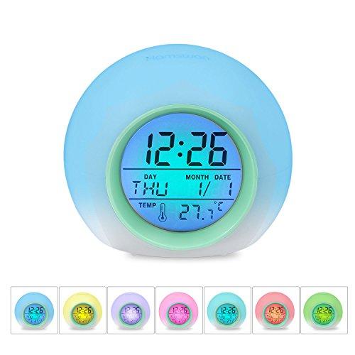 [Geburtstagsgeschenk für Kinder]LED Wecker, HAMSWAN JL-C018 7 Farben ändern Wecker, batteriebetrieben, 12/24 Stunden, One-Tap-Control, Schlaf-freundlich mit Innentemperaturanzeige für Kinder, Home, Office (Hellgrün)