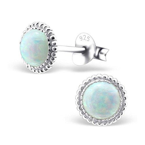 Silvinity Damen Ohrringe Opal weiß - 925 Silber Ohrstecker rund mit Opalen (synth.) Ø7mm #SV-216-W