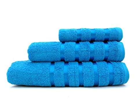 100% Pure Cotton Luxury Savoy Stripe Aqua Hand Towel - 550gsm, 50x85cms