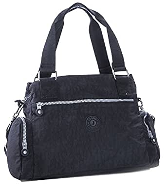 1007b4fd26 Big Handbag Shop Rainproof Fabric Medium Lightweight Multi Compartment Baby Shoulder  Bag (Black)