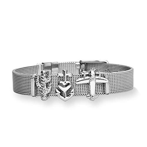 URBANHELDEN - Mesharmband - DREAM HOLIDAY - aus Edelstahl - Mesh Charm Armband - Charms austauschbar - Größen verstellbar - Damenarmband Charmband (Silber, Rosegold o. Gold)