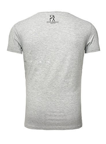 Sublevel Herren Sommer T-Shirt verwaschen Vintage Printshirt New York Skyline Rundhalsausschnitt mit Print Oversize Schnitt Grau
