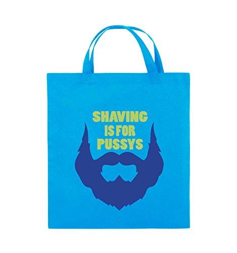 Comedy Bags - SHAVING IS FOR PUSSYS - Jutebeutel - kurze Henkel - 38x42cm - Farbe: Schwarz / Weiss-Neongrün Hellblau / Hellgrün-Royalblau
