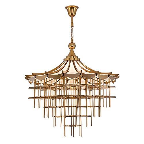 N.Y Kronleuchter Neue chinesische Kronleuchter Licht Atmosphäre kreative Edelstahl Haus Villa Wohnzimmer Esszimmer Lampen -