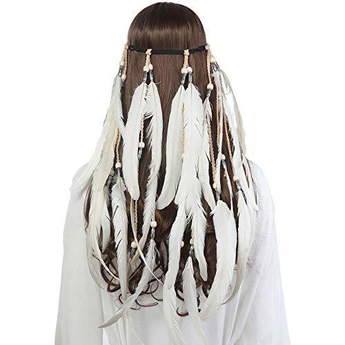 AWAYTR Feder Kopfschmuck Boho Hippie Stirnband - Fancy Federschmuck Böhmische Kopfbedeckung Quaste für Damen Mädchen Karneval Kopfschmuck, Beige, Einheitsgröße