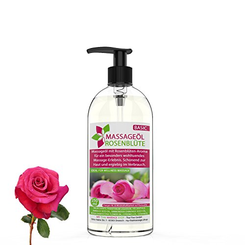 Massageöl Aroma Rose/Rosenblüte 250ml MyThaiMassage - Aromaöl für Thai Massage Wellness Spa (Rosen-aroma)