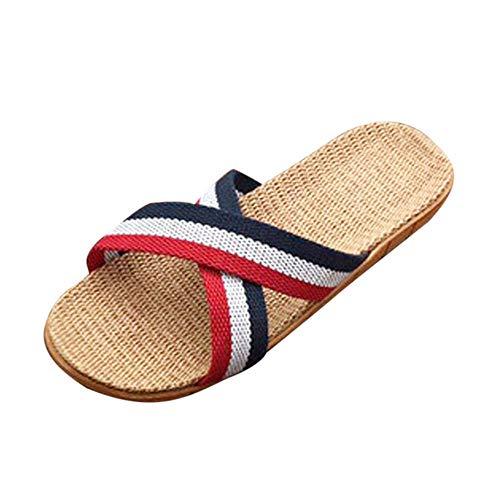 Zapatillas Mujeres Hombres Lino a Rayas Antideslizante Hogar Interior Verano Pisos Abiertos Zapatos de Playa Casual Chanclas Mujer Interior y Exterior