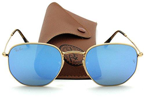 Ray-Ban RB3548N HEXAGONAL FLAT LENSES Mirrored Sunglasses (Gold Grame/Blue Gradient Flash Lens 001/9O, 51)