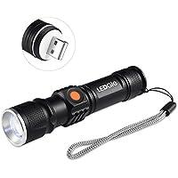 LEDGLE 500 lúmenes Linterna LED Recargable Impermeable IPX54, 3 modos de iluminación Carga USB,Batería de litio incorporada