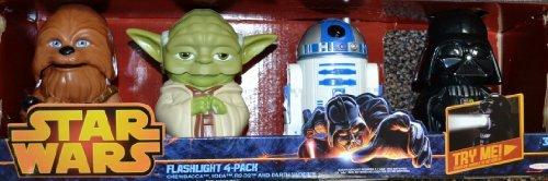 Star Wars Linterna Pack de 4Chewbacca Yoda R2-D2 Darth Vader