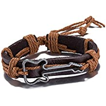 Pulsera de piel marrón y cuerda, unisex, diseño de guitarra, estilo vintage