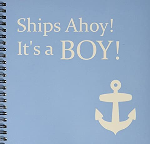 3dRose db_151388_1 Ships Ahoy its a Boy-for Baby Showers-Light Powder Blue with White Anchor Sailor Nautical Theme-Drawing Book, 8 by