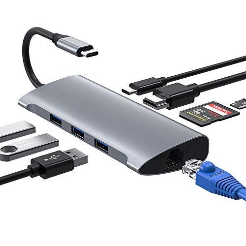 USB C Hub, USB Typ C Adapter 4K HDMI & RJ45 Adapter mit 3 USB3.0 Ports, SD / TF Kartenleser & USB C Stromanschluss USB C Adapter Kompatibel für Macbook Pro / Air, Samsung, Huawei, USB C Geräte (Grau)
