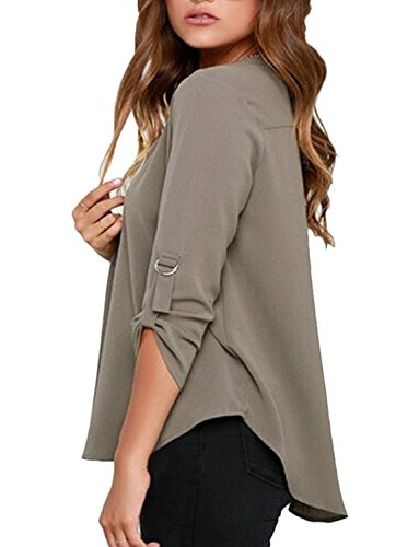 Moon Angle Damen V-Ausschnitt Chiffon Bluse Tops Fashion OL Style Fold Langarm Casual Blusen Plus Size Blusas Shirt Grau