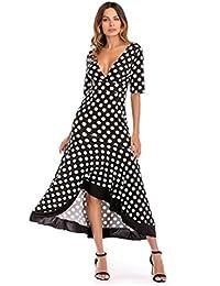4ce6db1ab Cinnamou Vestido Largo con Volantes Irregulares de Verano para Mujer  Lunares Vestido con Cuello V Profundo