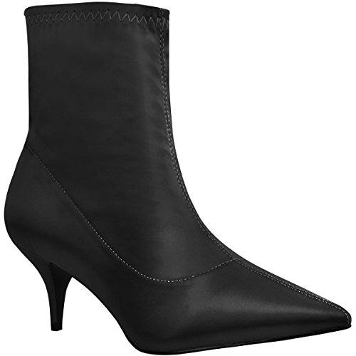 Fashion Thirsty Damen Ankle Boots - niedriger Absatz - spitz zulaufend - Satin-Look - elastisch - Schwarz Satin-Look - EUR 41 (Boot Platform Heel Ankle)