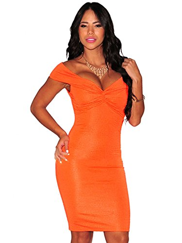 Orange strukturierte Knoten Off der Schulter Gepolsterte figurbetontes Kleid Club Wear Größe UK/S 8–10 (Knoten Schulter)