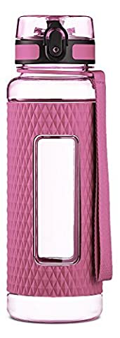 Swig Savvy BPA Free 32oz Tritan Water Bottle with Silicone Sleeve. Fruit Infuser Water Bottle Filter and Leak Free Flip Top, EZ Open with One Click . Available in 3 Colors (Pink) by SWIG (Rosa 16 Ounce Tumbler)