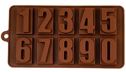 Silikonform mit Zahlen, Pralinenform, Backform, Zahlenform, Beton, Fondant, Gießform, Nummer, Number, Eiswürfelform, Kindergeburtstag, Alphabet, Kuchenverzierung, Farbe: Braun, BlueFox