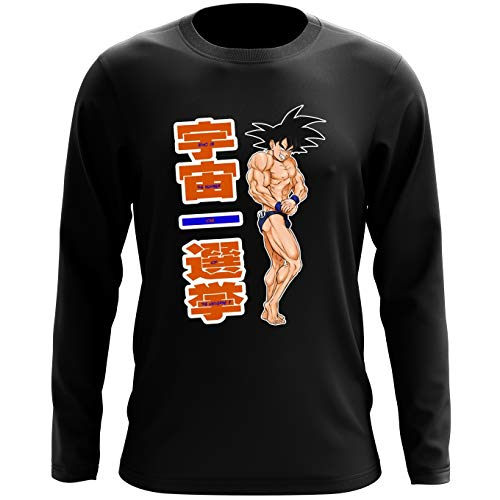 Okiwoki T-Shirt à Manches Longues Noir Dragon Ball Z - DBZ parodique Sangoku : Mister Univers - Candidat N° 11: (Parodie Dragon Ball Z - DBZ)