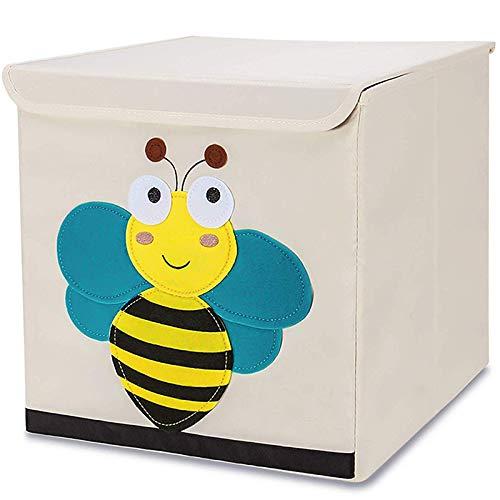 Tsingle scatola porta oggetti con coperchio, per bambini, pieghevole, in tela, con personaggio in stile cartone animato, grande, a cubo, per vestiti, scarpe, giocattoli, 33 x 33 x 33cm (36l) - bee