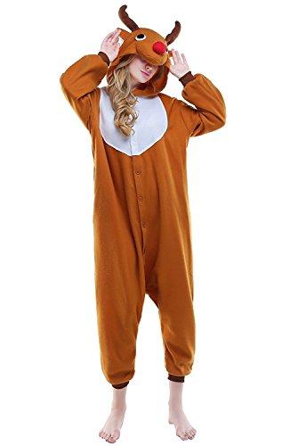 Pyjamas Mädchen Weihnachten Hirsch Rentier Erwachsene Unisex Animal Cosplay Overall Pajamas Anime Schlafanzug Jumpsuits Spielanzug - Elch Kopf Kostüm
