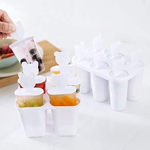 Feli546Bruce Silikon-Eiswürfelform, 6 Zellen, DIY Eis-Eis, Lolly Creme, Pop-Form, Form Pfanne, Küchenwerkzeug für Kinder mit Pudding, Milch, Saft, Schokolade oder Whisky-Partikeln Rund mehrfarbig