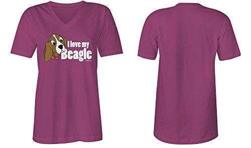 I Love My Beagle �?V-Neck T-Shirt Frauen-Damen �?hochwertig bedruckt mit lustigem Spruch �?Die perfekte Geschenk-Idee (07) pink