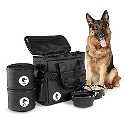 Top Dog Travel Bag - Airline Approved Travel Set for Dogs Stores All Your Dog Accessories - Includes Travel Bag, 2X Food Storage Containers and 2X Collapsible Dog Bowls - Black from Top Dog Pet Gear