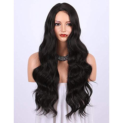 Big Wave Perücke in Damen langes lockiges Haar schwarze Perücke Set Mode große Welle Chemiefaser unterteilt -