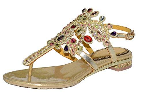 Honeystore Frauen Niederiger Absatz Sandalen Slingpumps mit Strass Schuhe Gold