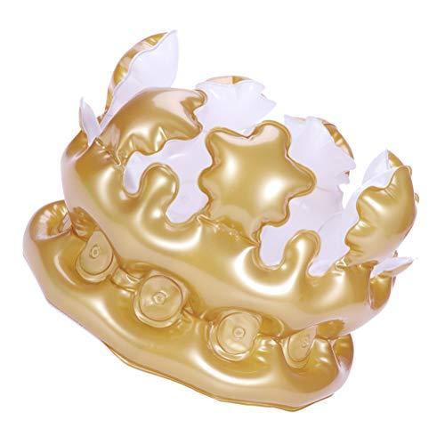 BESTOYARD 2 Stücke Aufblasbare Crown Birthday Party Favors Geschenke Aufblasbare sprengen Spielzeug (Golden)