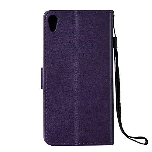 Custodia Xperia E5, ISAKEN Flip Cover per Sony Xperia E5 con Strap, Elegante borsa Tinta Unita Farfalla Design in Sintetica Ecopelle PU Pelle Protettiva Portafoglio Case Cover con Supporto di Stand /  Farfalla: viola