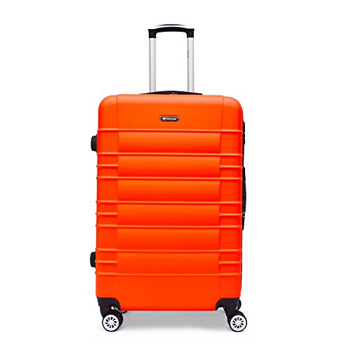 SHAIK® Serie CLASSIC JFK Design Hartschalen Trolley, Koffer, Reisekoffer, in 3 Größen M / L / XL / Set 40/78/124 Liter, 4 Doppelrollen Zwillingsrollen, Zahlenschloss (Großer Koffer, Orange)